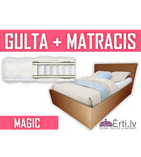 Romeo + Magic - Divguļmā ādas gulta komplektā ar Pocket matraci - 459 Eiro