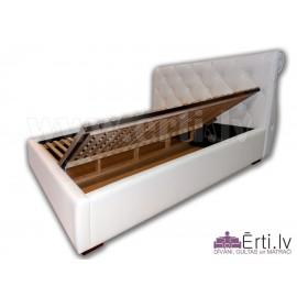 Viola B - Klasiska stila eko-ādas gulta ar veļas...