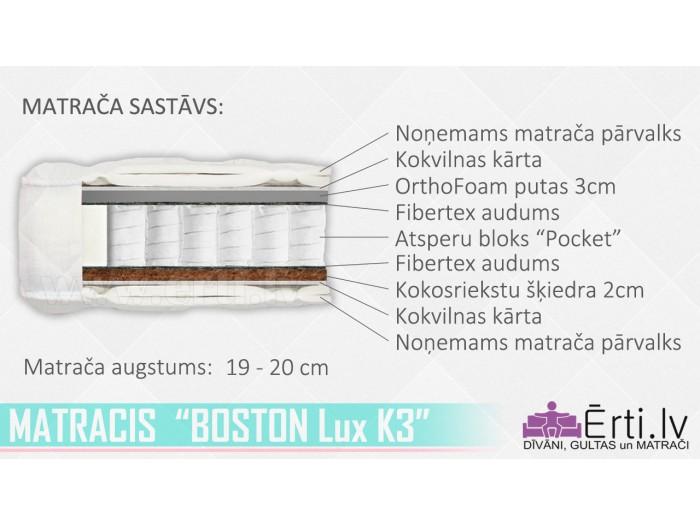 Boston Lux K3 – Ортопедический Pocket матрас с кокосом