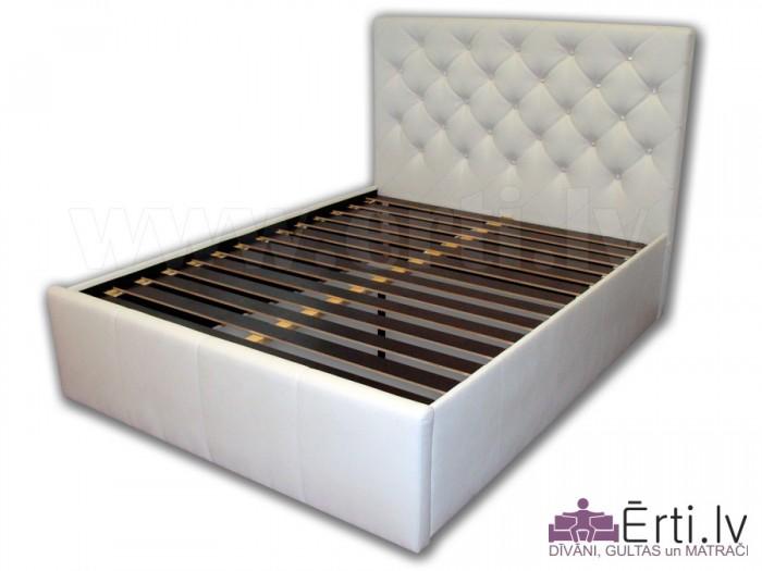 Chesterfield – Mūsdienīga eko-ādas gulta ar pogām