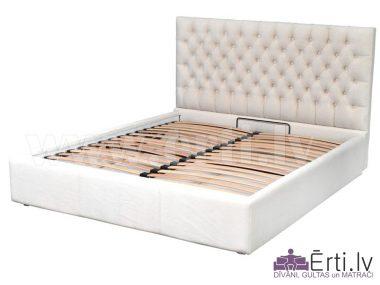 Cambridge LUX – Кровать из ткани или эко-кожи с пуговицами и УГЛУБЛЕННЫМ бельевым ящиком