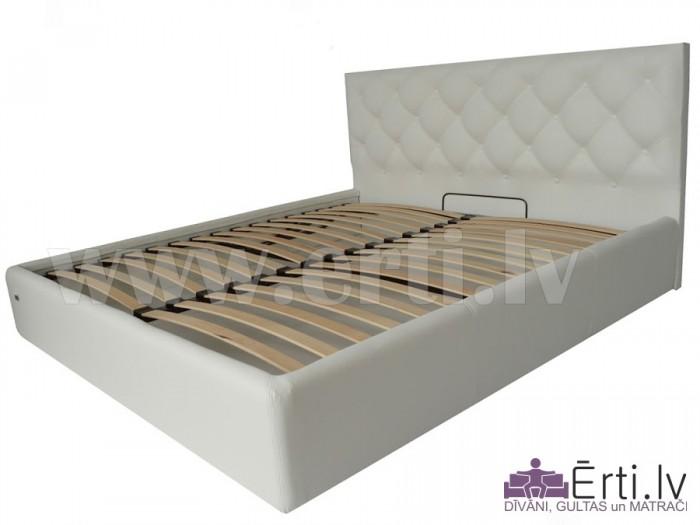 Bristol LUX – Skaista eko-ādas gulta ar pogām un PADZIĻINĀTU veļaskasti