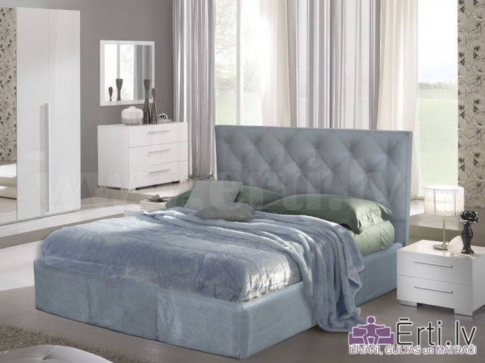 Bristol plus – Кровать из ткани или эко-кожи с пуговицами и бельевым ящиком