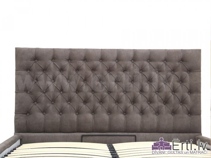 Cambridge plus – Klasiski skaista auduma vai eko-ādas gulta ar pogām un veļaskasti