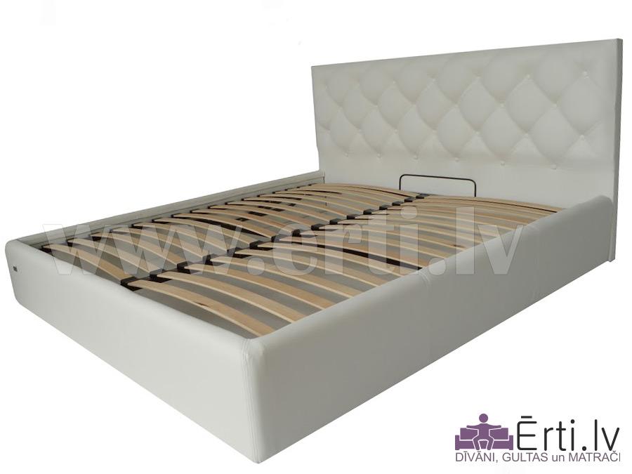 Bristol plus – Skaista eko-ādas gulta ar pogām un veļaskasti