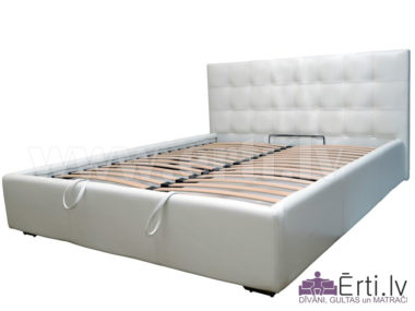 Chesterbed plus – Vienkārša un eleganta eko-ādas gulta ar nošuvēm un veļas kasti