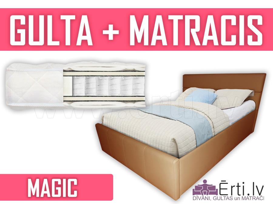 Romeo + Magic – Divguļmā ādas gulta komplektā ar Pocket matraci – 459 Eiro