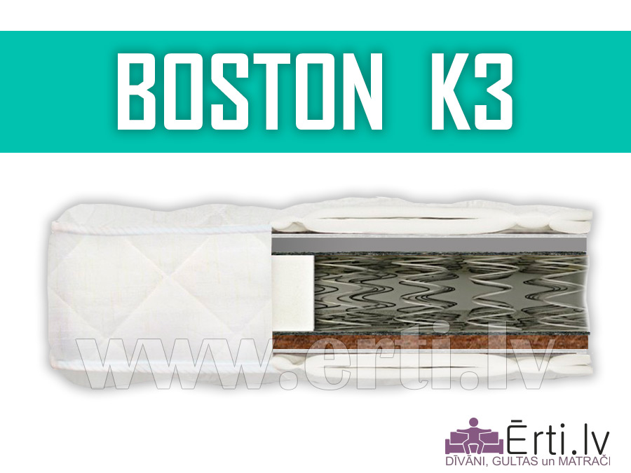 Boston K3 – Divpusējs ortopēdisks matracis ar kokosu