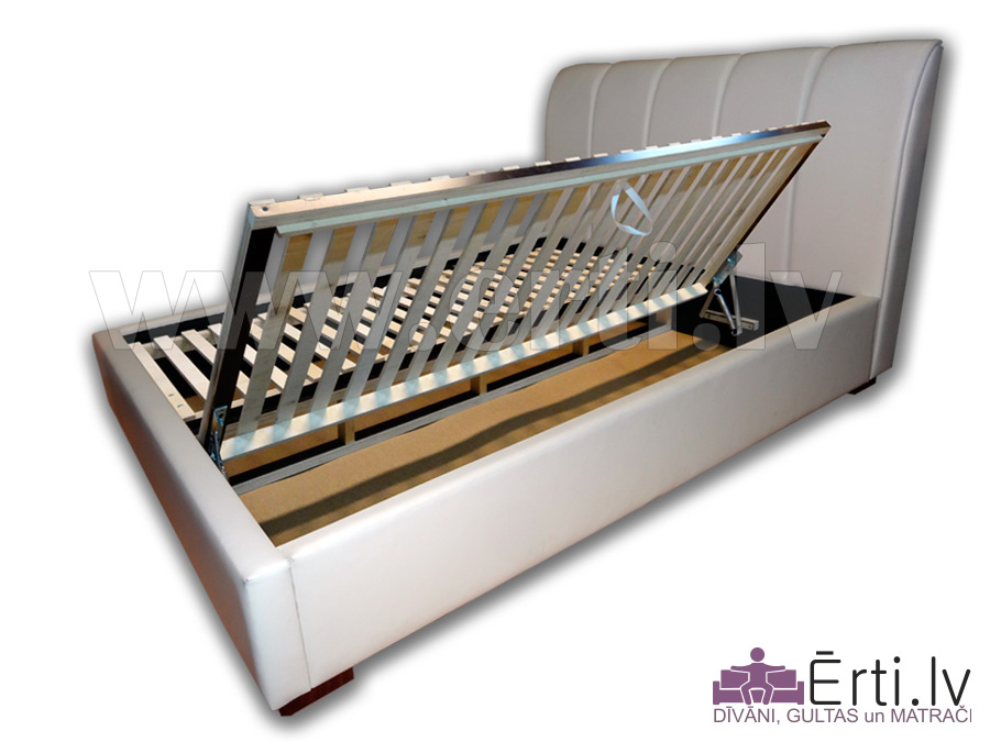 Minoti B – Eleganta eko-ādas gulta ar veļaskasti