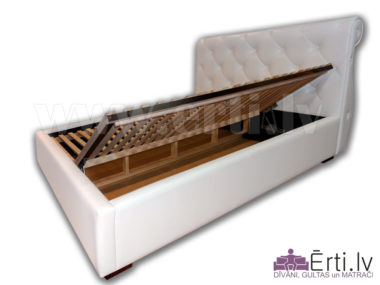 1520Viola B – Klasiska stila eko-ādas gulta ar veļaskasti
