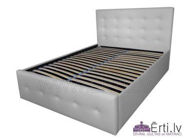 Art LUX- Stilīga eko ādas gulta ar pogām galvgalī un veļaskasti