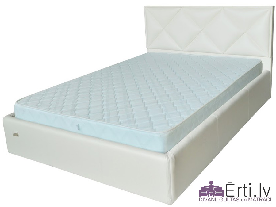 Leeds LUX – Dizainiski skaista eko-ādas gulta ar PADZIĻINĀTU veļaskasti