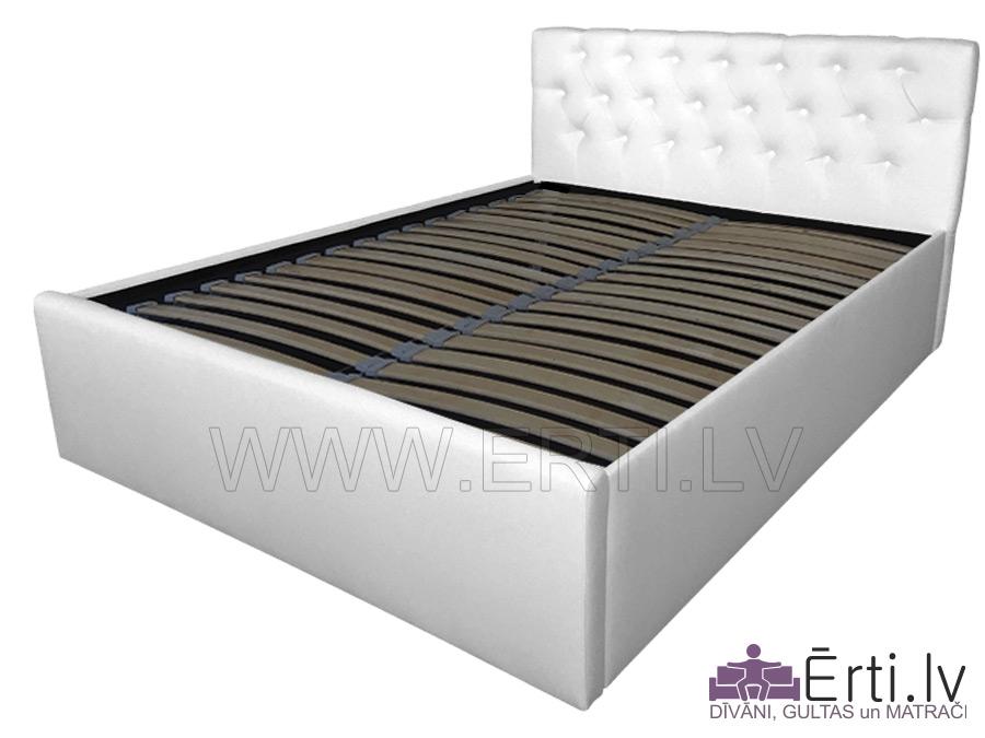 Chester LUX – Mūsdienīga eko-ādas gulta ar veļaskasti un pogām galvgalī