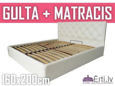 Gulta Bristol plus ar veļaskasti + matracis 160x200cm
