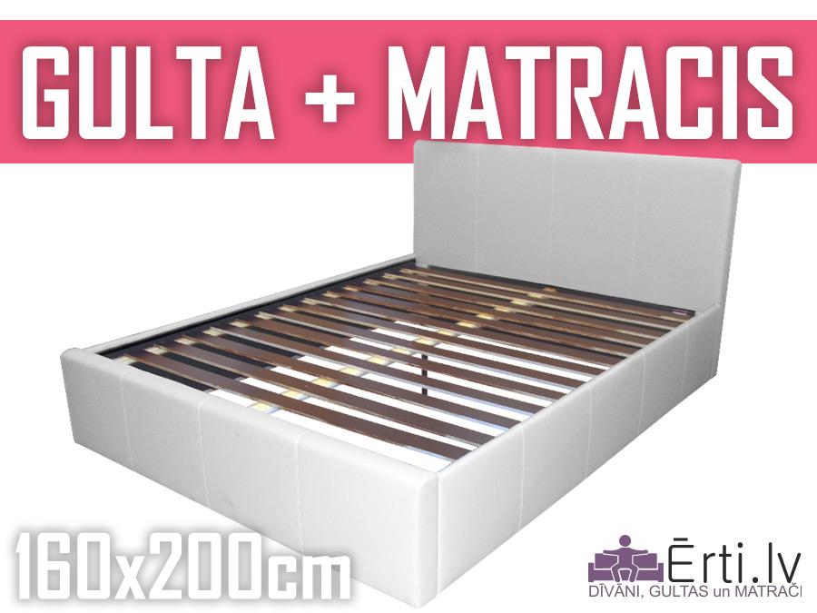 Gulta Ella komplektā ar matraci 160x200cm