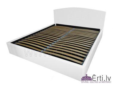 Klasika LUX – Stilīga eko ādas gulta ar veļaskasti un noapaļotu galvgali