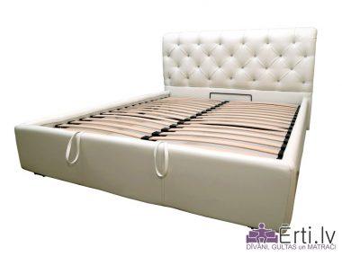 London LUX – Klasiski skaista auduma vai eko-ādas gulta ar pogām un PADZIĻINĀTU veļaskasti