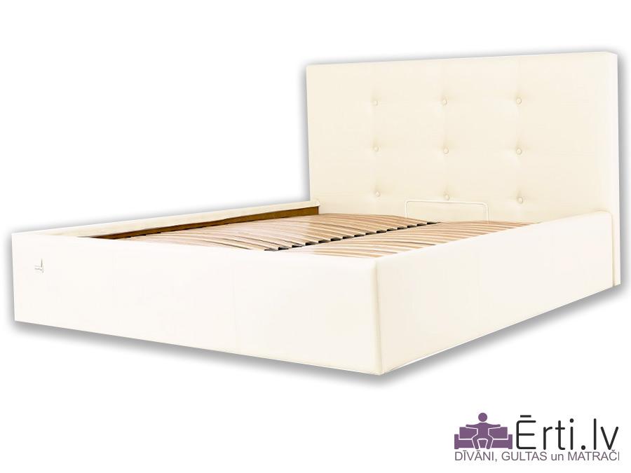 Manchester LUX – Mūsdienīga eko-ādas gulta ar pogām un PADZIĻINĀTU veļas kasti
