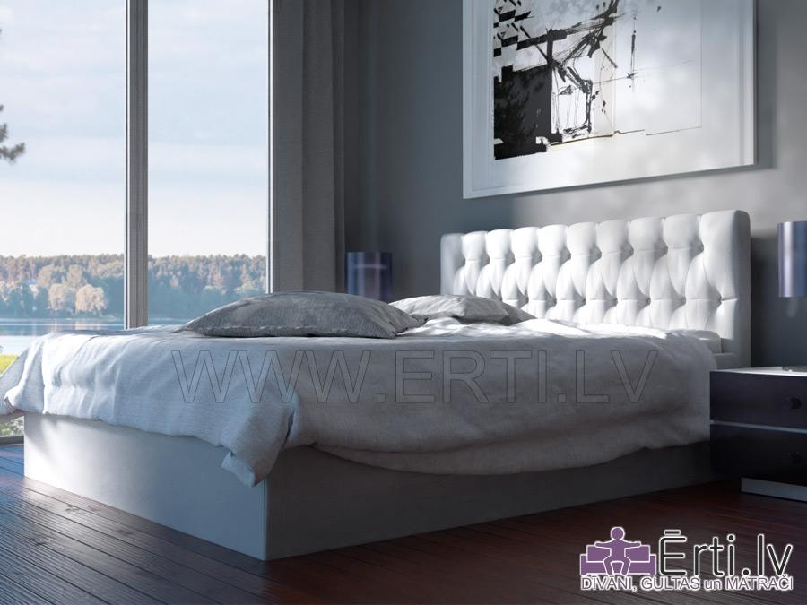 Chester – Mūsdienīga eko-ādas gulta ar pogām galvgalī