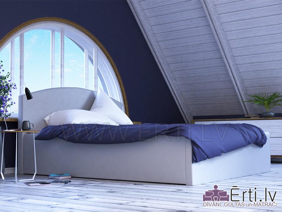 Klasika – Stilīga eko ādas gulta ar noapaļotu galvgali