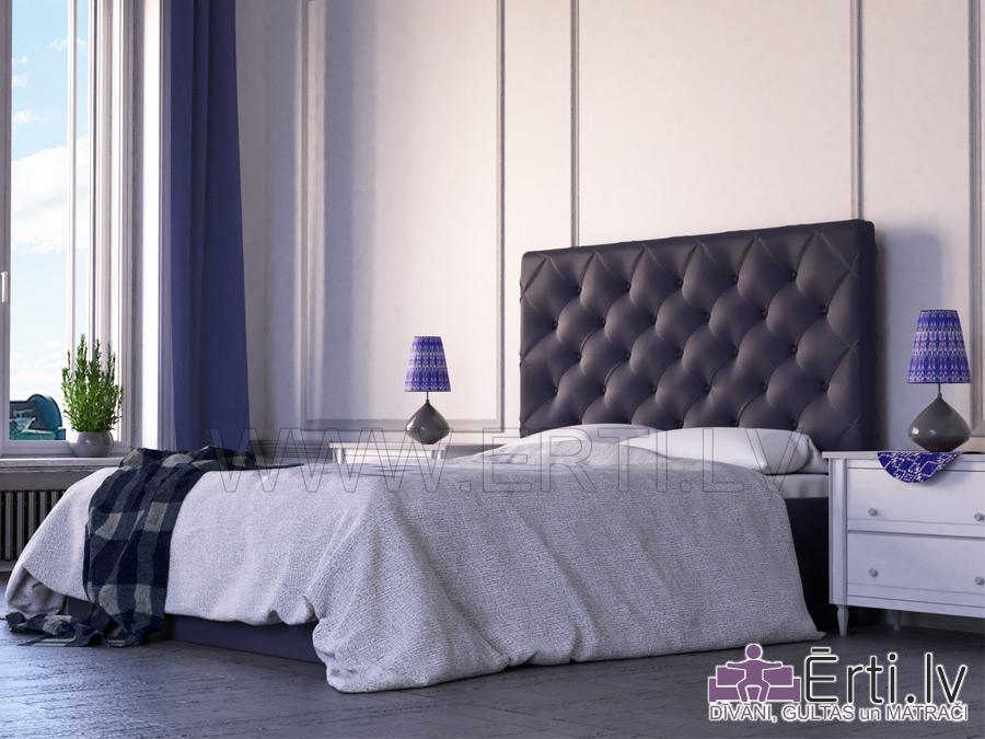 Royal – Mūsdienīga eko-ādas gulta ar pogām galvgalī