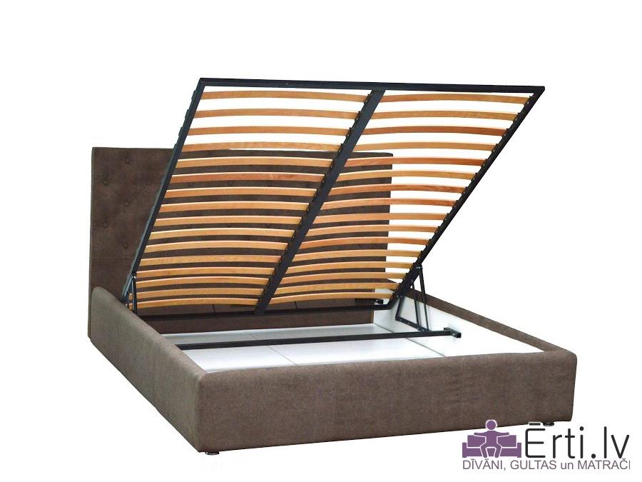 Coventry LUX – Skaista eko-ādas gulta ar pogām un PADZIĻINĀTU veļaskasti
