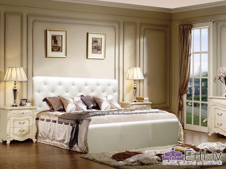 London plus – Klasiski skaista auduma vai eko-ādas gulta ar pogām un veļaskasti