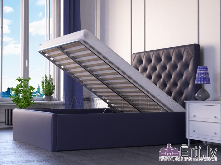 Royal LUX – Mūsdienīga eko-ādas gulta ar veļaskasti un pogām galvgalī