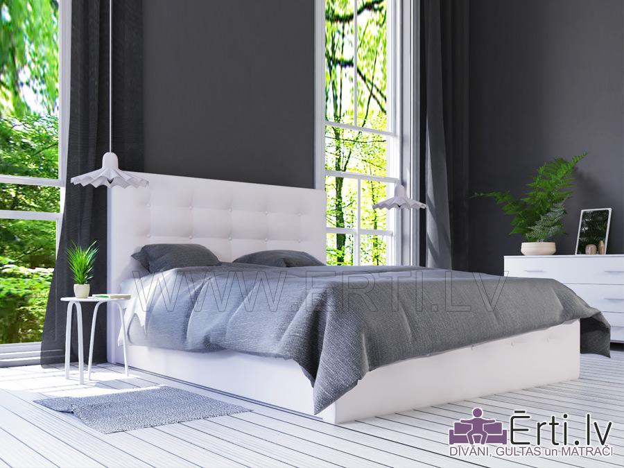 Art – Mūsdienīga eko-ādas gulta ar pogām
