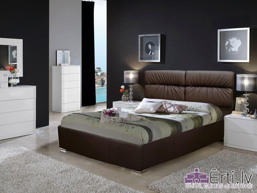 Oxford LUX – Eko-ādas gulta, kuras galvaglis nodrošina ērtu galvas atbalstu ar PADZIĻINĀTU veļas kasti