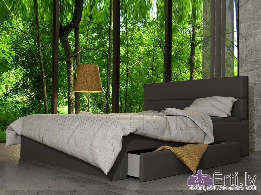 Romeo LUX- Stilīga eko ādas gulta ar ļoti mīkstu galvgali un veļaskasti