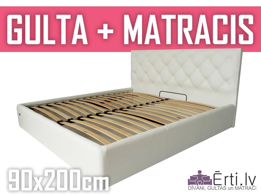 Gulta Bristol plus ar veļaskasti + matracis 90x200cm