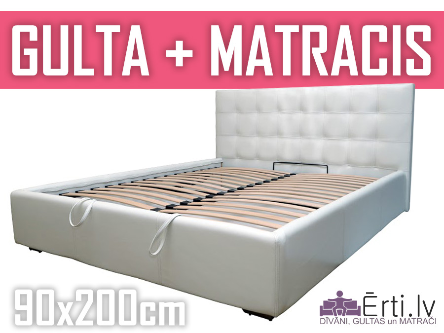 Gulta Chesterbed plus ar veļaskasti + matracis 90x200cm