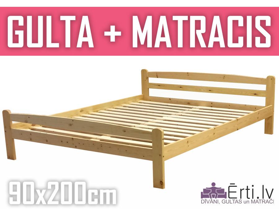 Gulta Laura + matracis 90x200cm