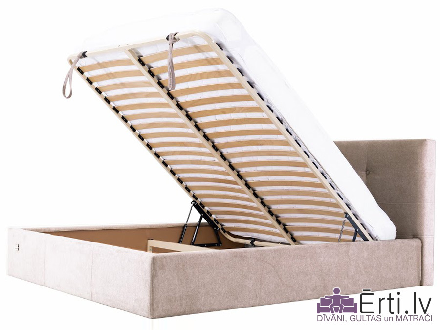 Manchester plus – Mūsdienīga eko-ādas gulta ar pogām un veļas kasti