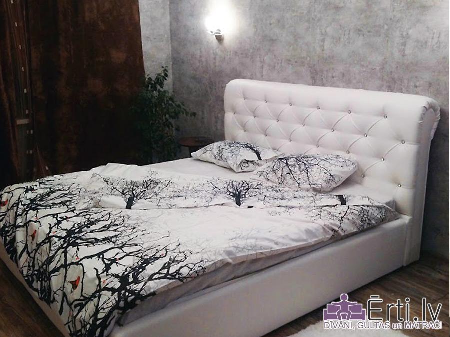 London LUX – Кровать из ткани или эко-кожи с пуговицами и УГЛУБЛЕННЫМ бельевым ящиком