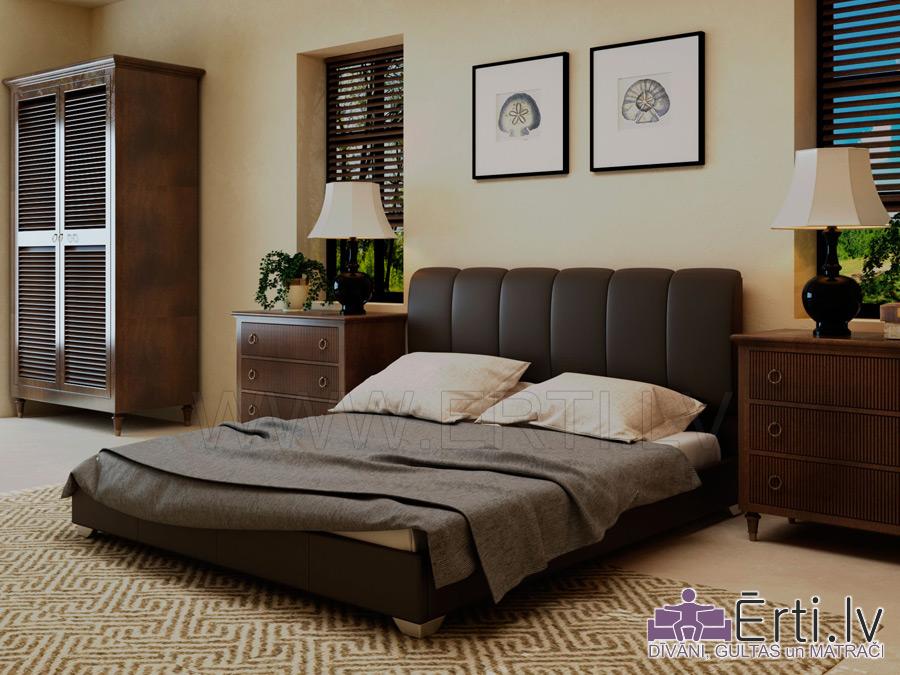 Gulta OLYMP – Eleganta gulta ar vertikāliem spilveniem un veļaskasti
