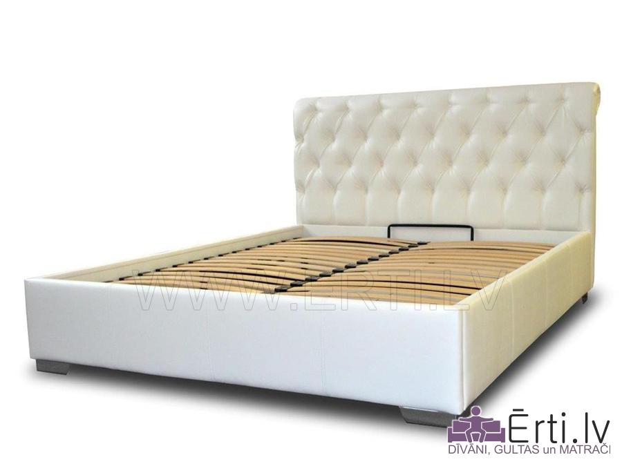 Gulta KLASIKO – Klasiska auduma gulta ar veļas kasti