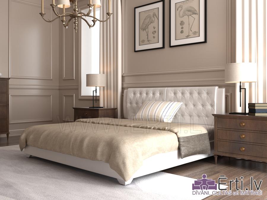 Gulta TIFANY – Auduma gulta ar veļas kasti un mīkstiem spilveniem